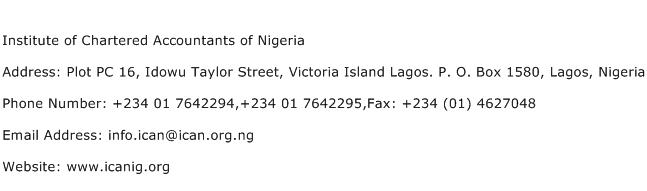 Institute of Chartered Accountants of Nigeria Address Contact Number