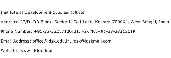 Institute of Development Studies Kolkata Address Contact Number