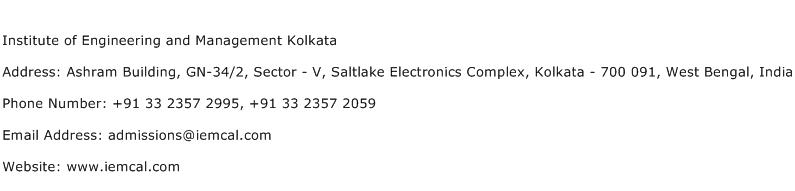 Institute of Engineering and Management Kolkata Address Contact Number