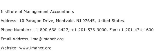 Institute of Management Accountants Address Contact Number