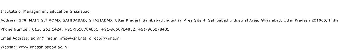 Institute of Management Education Ghaziabad Address Contact Number