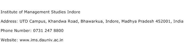 Institute of Management Studies Indore Address Contact Number