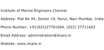 Institute of Marine Engineers Chennai Address Contact Number