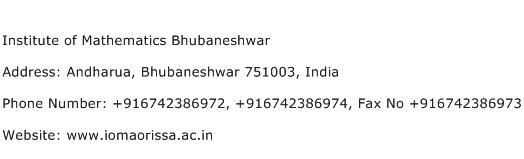Institute of Mathematics Bhubaneshwar Address Contact Number