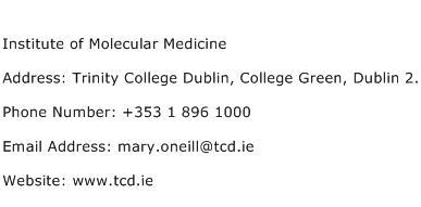 Institute of Molecular Medicine Address Contact Number