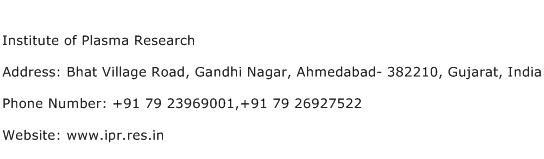 Institute of Plasma Research Address Contact Number