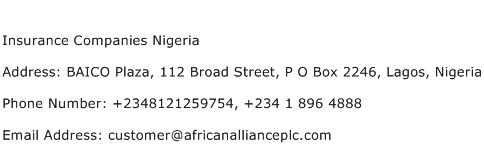 Insurance Companies Nigeria Address Contact Number