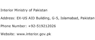 Interior Ministry of Pakistan Address Contact Number