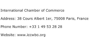 International Chamber of Commerce Address Contact Number