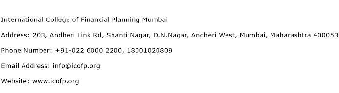International College of Financial Planning Mumbai Address Contact Number