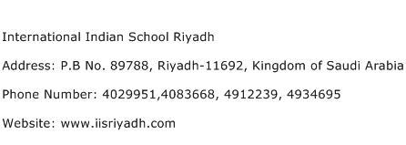 International Indian School Riyadh Address Contact Number