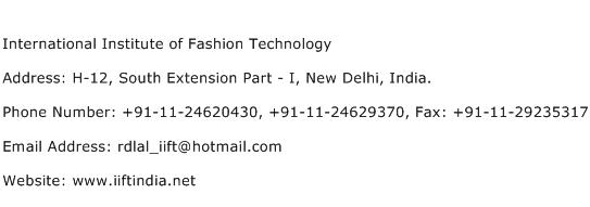 International Institute of Fashion Technology Address Contact Number