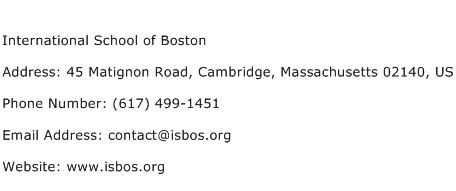International School of Boston Address Contact Number