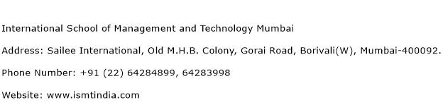 International School of Management and Technology Mumbai Address Contact Number