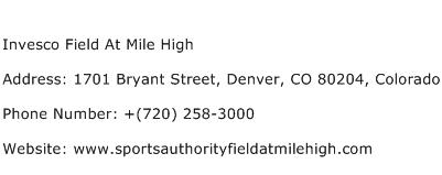 Invesco Field At Mile High Address Contact Number