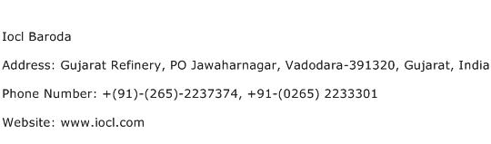 Iocl Baroda Address Contact Number