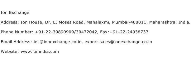 Ion Exchange Address Contact Number