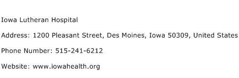 Iowa Lutheran Hospital Address Contact Number