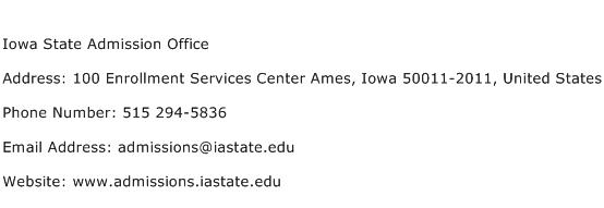 Iowa State Admission Office Address Contact Number
