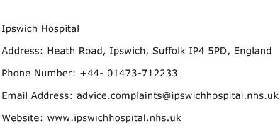 Ipswich Hospital Address Contact Number