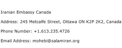 Iranian Embassy Canada Address Contact Number