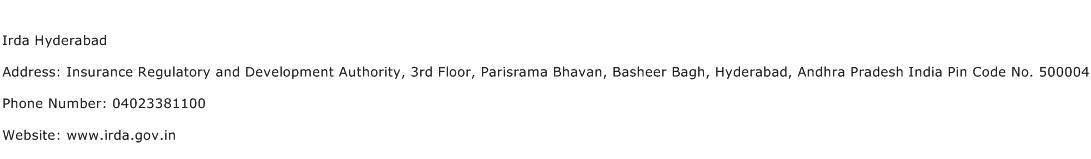 Irda Hyderabad Address Contact Number