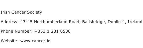 Irish Cancer Society Address Contact Number