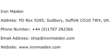 Iron Maiden Address Contact Number