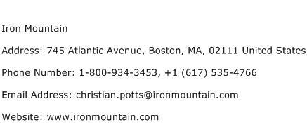 Iron Mountain Address Contact Number