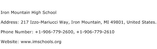 Iron Mountain High School Address Contact Number