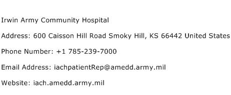 Irwin Army Community Hospital Address Contact Number
