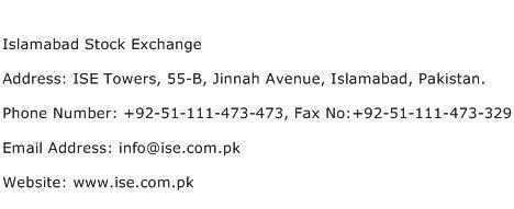 Islamabad Stock Exchange Address Contact Number