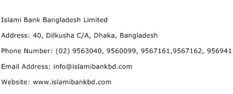 Islami Bank Bangladesh Limited Address Contact Number