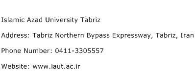 Islamic Azad University Tabriz Address Contact Number