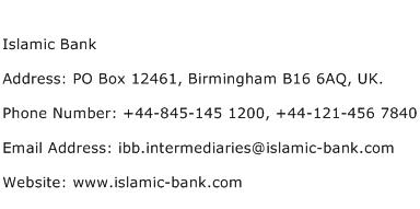 Islamic Bank Address Contact Number