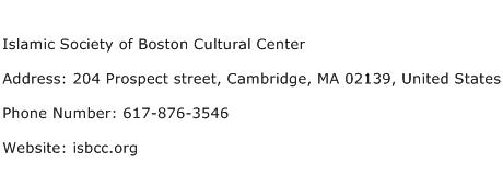 Islamic Society of Boston Cultural Center Address Contact Number