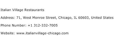 Italian Village Restaurants Address Contact Number