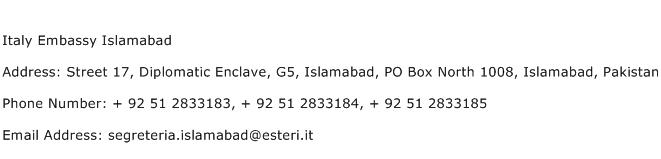 Italy Embassy Islamabad Address Contact Number