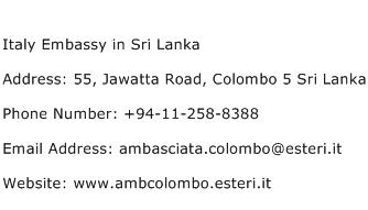 Italy Embassy in Sri Lanka Address Contact Number