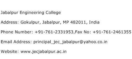 Jabalpur Engineering College Address Contact Number