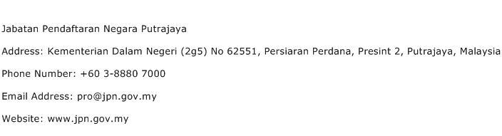 Jabatan Pendaftaran Negara Putrajaya Address Contact Number