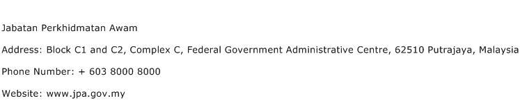 Jabatan Perkhidmatan Awam Address Contact Number