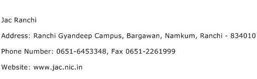 Jac Ranchi Address Contact Number