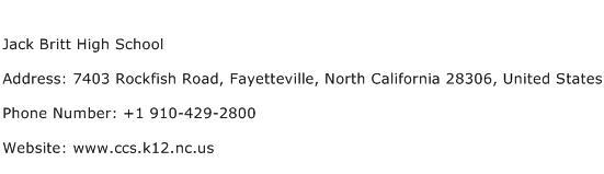 Jack Britt High School Address Contact Number