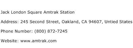 Jack London Square Amtrak Station Address Contact Number