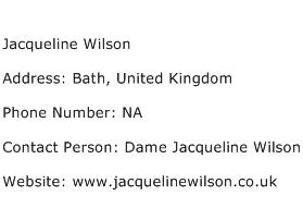 Jacqueline Wilson Address Contact Number