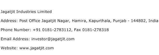 Jagatjit Industries Limited Address Contact Number
