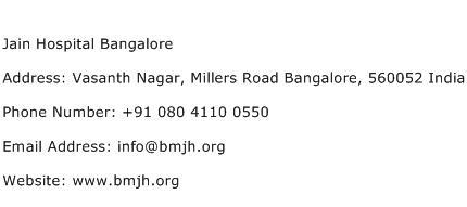 Jain Hospital Bangalore Address Contact Number