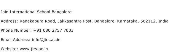 Jain International School Bangalore Address Contact Number