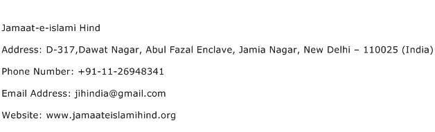 Jamaat e islami Hind Address Contact Number